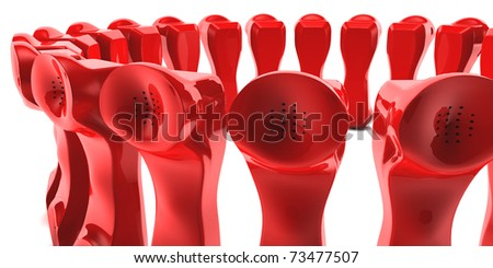 Red Telephone waiting to hear from you. - stock photo