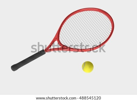 Red tennis racket and yellow ball. Sport item for leisure activity. 3D illustration