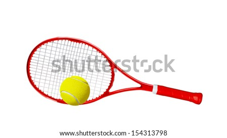 Red tennis racket isolated white background - stock photo