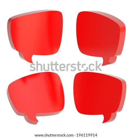 Red text bubble dimensional shapes isolated over the white background, set of four foreshortenings - stock photo