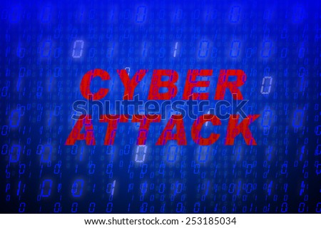 """Red text """"Cyber Attack"""" in front of blue binary code background, concept for data protection, internet security, computing, world wide web or cyber attacks - stock photo"""