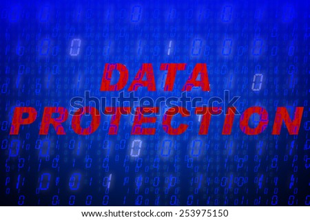 """Red text """"Data Protection"""" in front of blue binary code background, concept for data protection, internet security, computing, world wide web or cyber attacks - stock photo"""