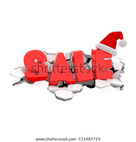 Red text SALE with Santa Claus hat on damage white surface. Christmas sales design template. 3D xmas illustration.