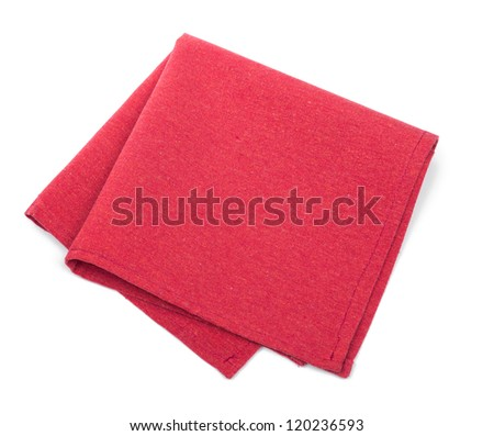 Red textile napkins isolated