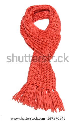 Red textile scarf isolated on white background - stock photo