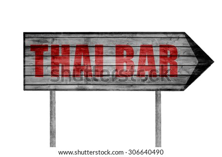Red Thai Bar wooden sign isolated on white - stock photo