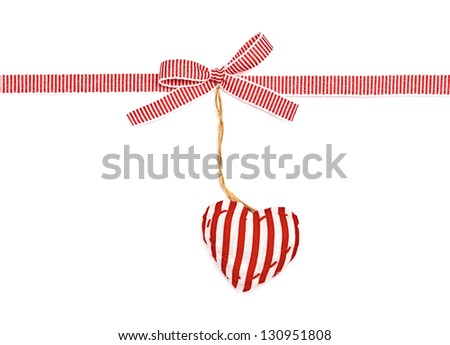 red the white ribbon in a strip, a bow and the strip heart, isolated on white background - stock photo