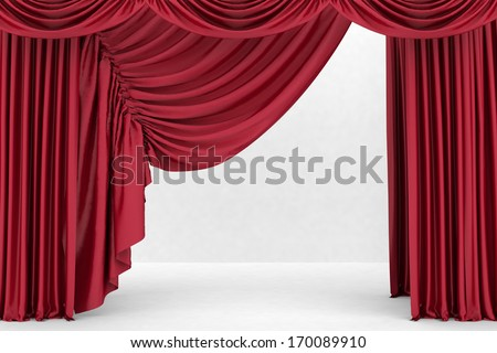 Red theater curtain, background
