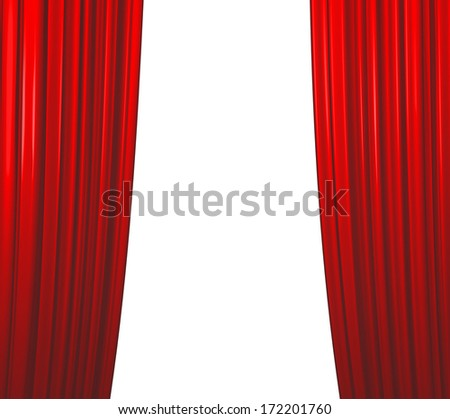 Red theater curtain closing on white background - stock photo