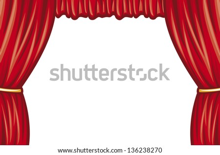 red theater curtain (curtain to theater stage) - stock photo