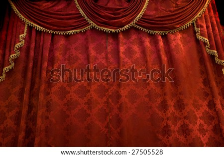 Red theater curtain. Stage show presentation concept