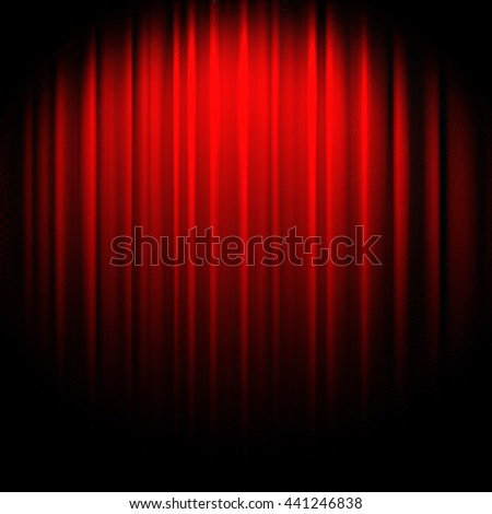 red theater curtain with soft lighting - stock photo