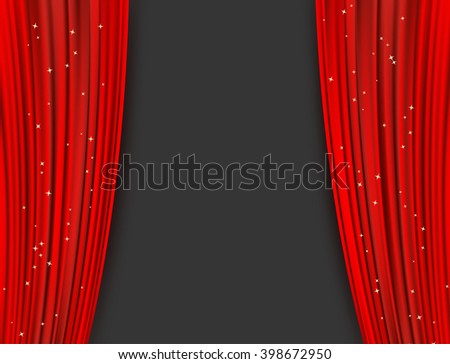 red theater curtains with glitter - stock photo