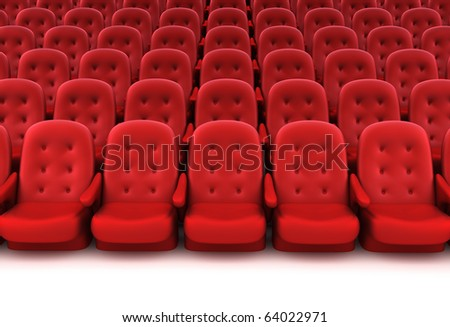 Red theater seats. 3D render. - stock photo