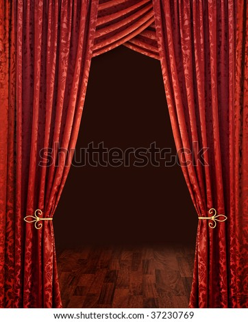 Red theater stage curtains brown wooden floor and dark background