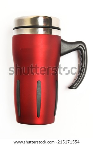 red thermos cup - stock photo