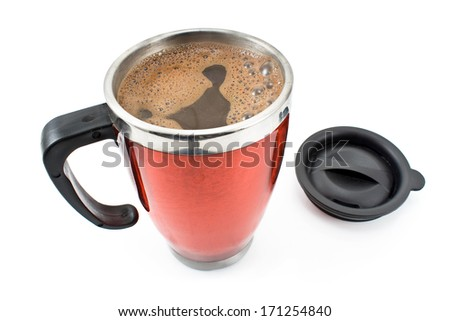 Red thermos with coffee drink and lid isolated on white - stock photo
