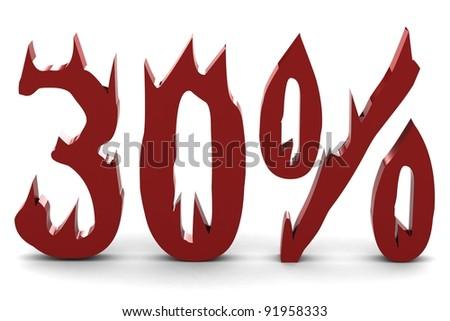 Red thirty percent - stock photo