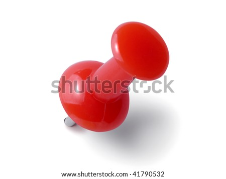 Red thumbtack isolated on the white background. - stock photo