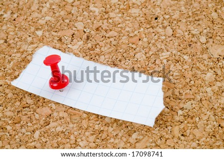 Red thumbtack on a cork board
