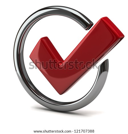 Red tick sign icon 3d - stock photo