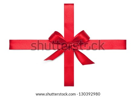 Red Tie from present ribbon. Isolated on white background. - stock photo