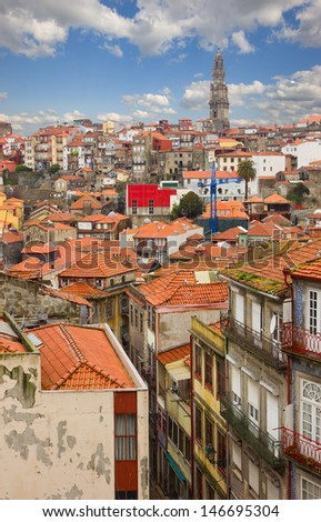 red tiled roofs of old town, Porto, Portugal - stock photo