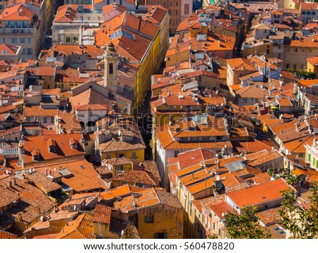 Red tiled rooftops of the old city of Nice, France