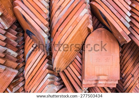 red tiles roof - stock photo