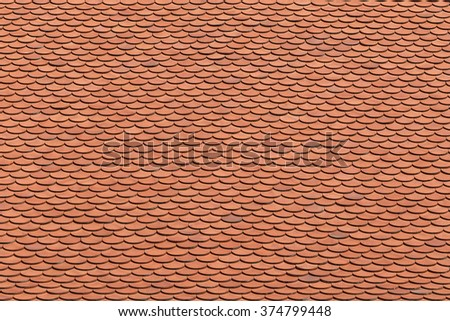 Red tiles roof background texture. - stock photo