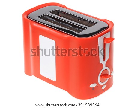 Red toaster isolated on white background - stock photo