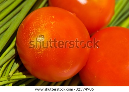 red tomato and spring onion