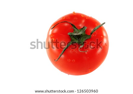 red tomato on a white background