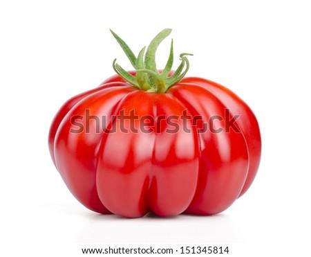 Red tomato on white background. - stock photo