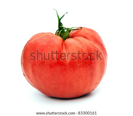 red tomato over white background