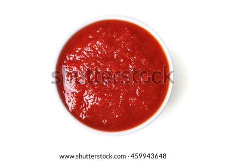 red tomato sauce isolated on white background/ top view