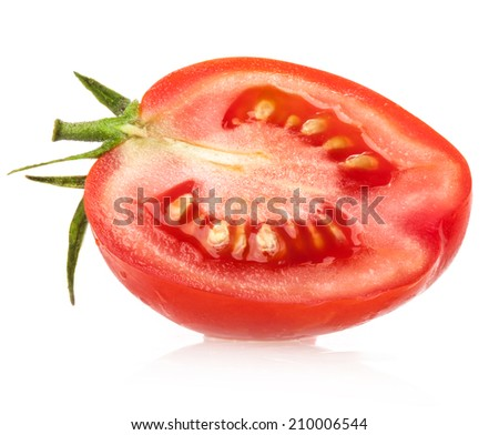 Red tomato slice isolated on white background - stock photo