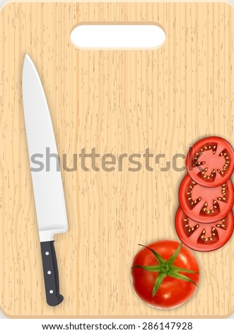 Red tomato slices and knife on the chopping board
