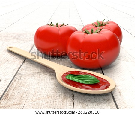 red tomatoes, a spoon with tomato sauce and basil leaves, on wooden background (3d render) - stock photo