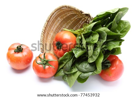 Red Tomatoes and Spinach on white background