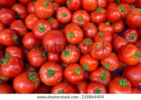 red tomatoes at the market. Fresh ripe tomatoes - stock photo