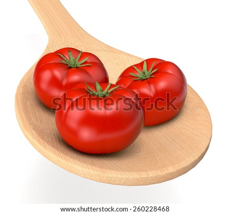 red tomatoes in a wood spoon (3d render) - stock photo