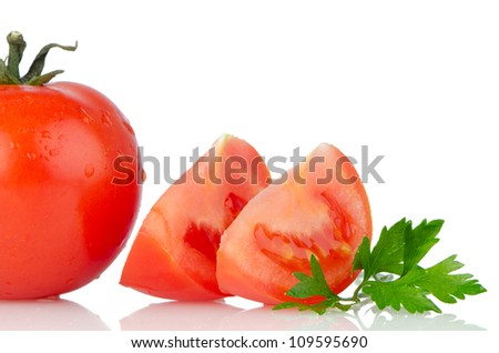 Red tomatoes isolated on white background. - stock photo