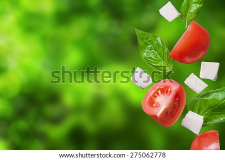 red tomatoes, mozzarella and basil flying on green natural background - caprese, traditional italian ingredients - stock photo