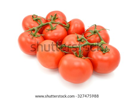 Red tomatoes on the vine, isolated on a white background - stock photo