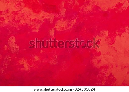 Red tones abstract expressionist watercolor hand painted background - stock photo