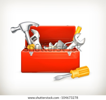 Red toolbox, bitmap copy - stock photo