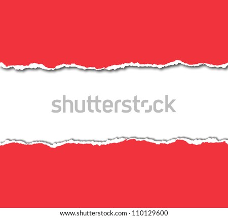 red torn paper with white copy space - stock photo