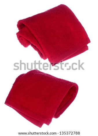 red towels on white background - stock photo