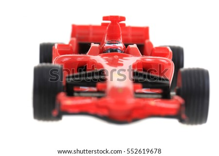 red toy as formula car isolated on the white background